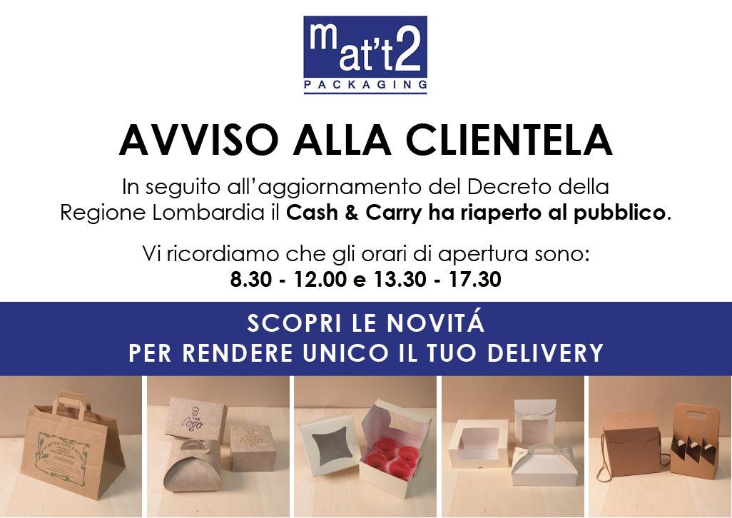 Mat't2 riapre al pubblico e presenta delivery & take away packaging