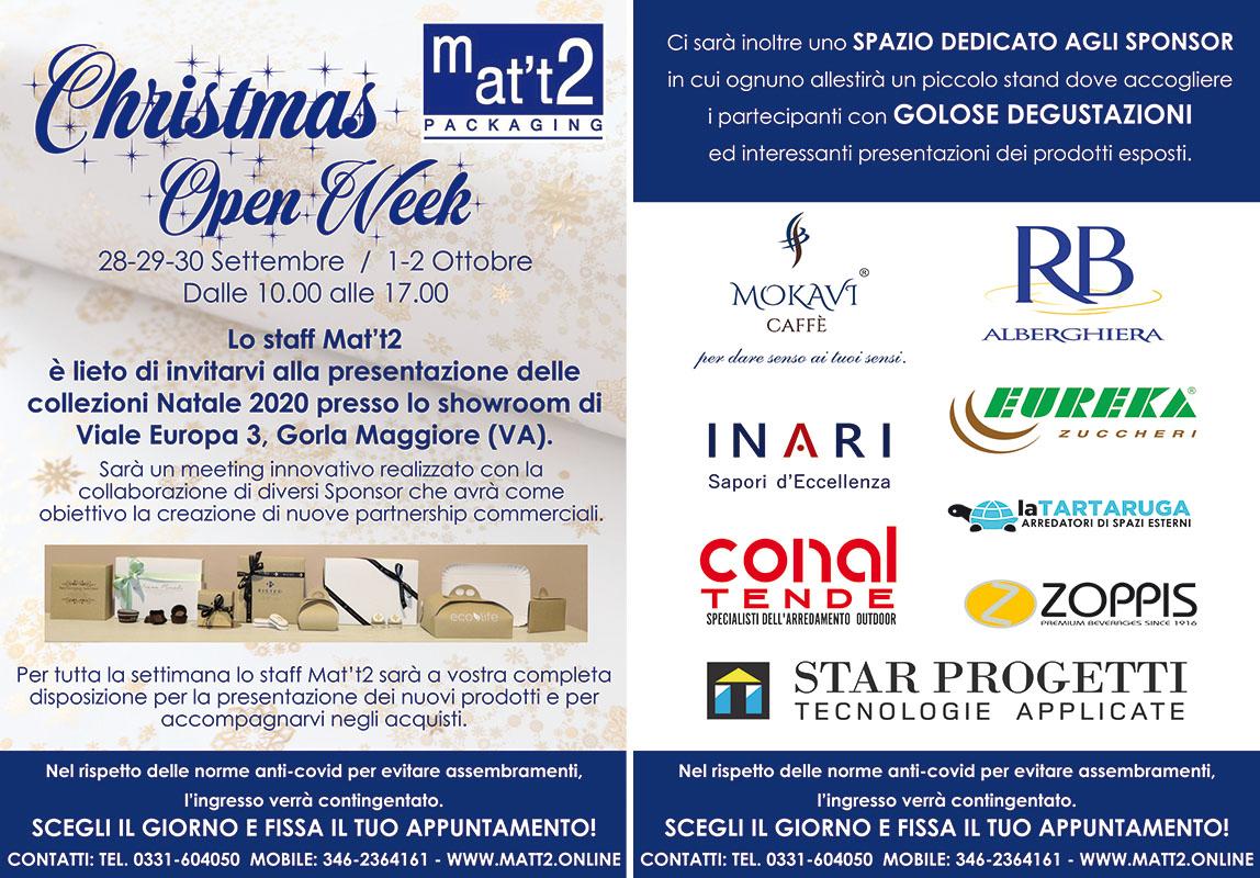 Mat't2 Christmas Open Week 28-29-30 Settembre e 1-2 Ottobre